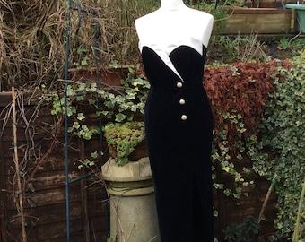 Vintage velvet tuxedo dress UK 10 US 6 EU38 black velvet dress