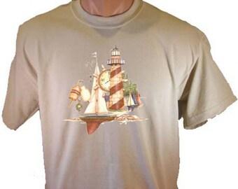 HARBOR LIGHTHOUSE Sailboats Ocean Decorative Beach T-Shirt