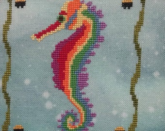 MORE COMING in June! FIRESIDE ORIGiNALS March April Seahorse of the Month SaL counted cross stitch patterns at cottageneedle.com