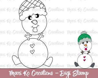 Little Snowman Gets Silly Digital Stamp 300 dpi png