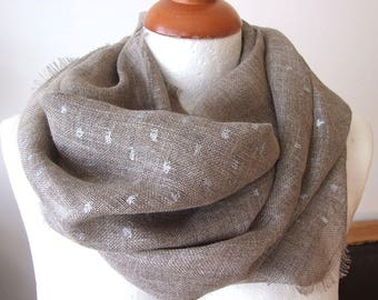 Organic soft linen scarf with silver speckles unisex fringed loop scarf infinity circle, eco natural linen spring summer scarf shawl