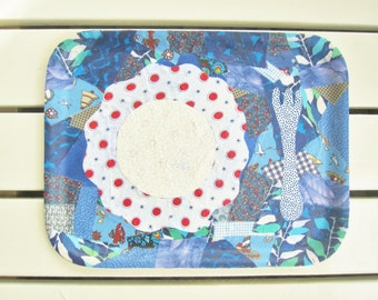 Tray decorative art salver platter server plywood collage blue red birch upcycled unique kitchen serving decor housewarming hostess gift