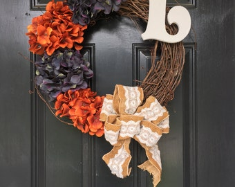Front Door Wreath, Fall Wreath, Hydrangea Wreath, Front Door Decor