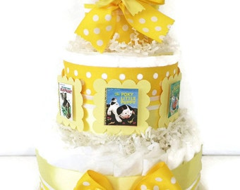 Book Theme Diaper Cake in Yellow and White, Neutral Gender Baby Shower Centerpiece