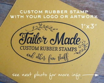 """Custom Business Rubber Stamp, Logo Stamp, Rubber Stamp, Packaging Rubber Stamp,  1"""" x 3"""" Wood Mounted"""