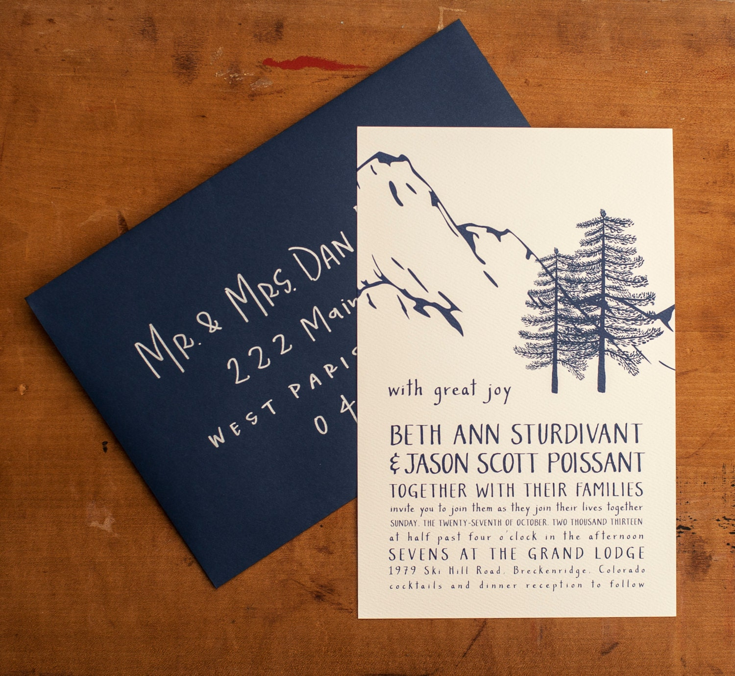This mountain wedding invitation is a lovely