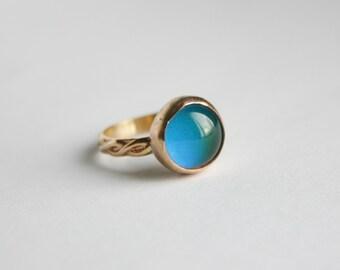 14/20 Kt Gold filled Smooth Bezel Mood Ring, Gold Mood Ring, Gold Round Mood Ring