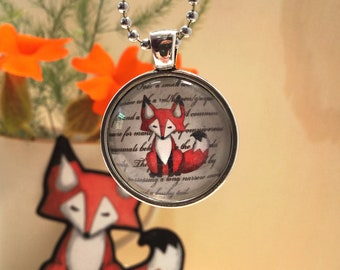 Fox Necklace Glass Art Pendant with Chain Silver Plated red foxes