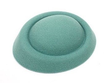 """6 1/2"""" Green Oval Pillbox Stewardess Fascinator Millinery Hat Base - Available in 17 Colors"""