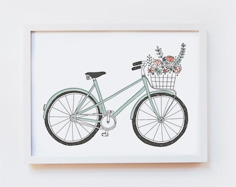 Giclee Art Print - vintage bicycle illustration, retro bike, flowers, flower basket - illustrated wall art, poster, decor - size A4 or A3