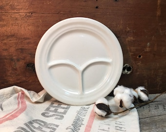 Vintage Wellsville China Grill Plate/Three Sectioned Plate/Restaurant Ware/Made in USA/White Ironstone.
