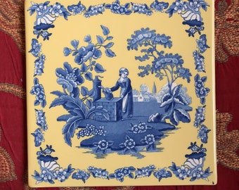 Farmhouse french Country Spode Toile Trivet Wall Tile