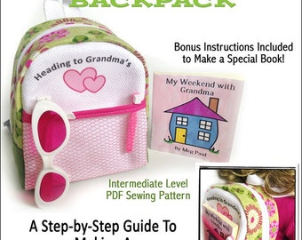 Pixie Faire Miche Designs Heading to Grandma's Backpack Doll Clothes Pattern for 18 inch American Girl Dolls - PDF