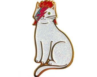 Bowie Cat Enamel Pin - ALL Glitter  Bowie Cat Pin -Glitter Cat Pin - Kitty Stardust