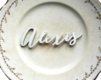 Silver Bombshell Calligraphy 3D Names, Laser Cut Place Seating Names