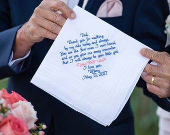 Dad Wedding Gift Father of the Bride Embroidered Wedding Handkerchief, Personalized Gift, Embroidered Wedding Handkerchief Canyon Embroidery