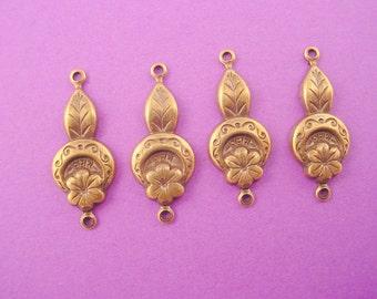 6 brass ox  art nouveau floral mix connectors 21mm