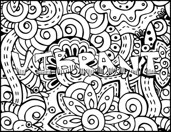 Adult Coloring Pages - Vibrant - Grown Up Coloring Page - Positive ...