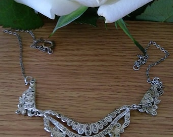 Vintage Art Deco Silver Tone Marcasite Panel Choker Necklace.   Boxed.  Gift.