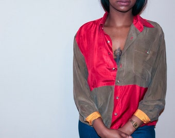 Colour blocked silk blouse