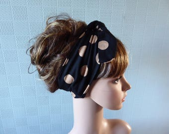 Black and beige spotted hair scarf, polka dot retro headband, fifties style hair wrap, polka dot pin up