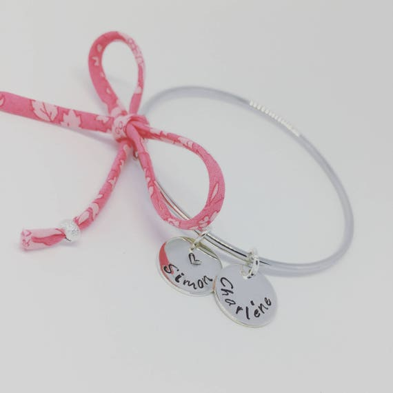 Personalized Bracelet - silver Bangle personalised with custom engraving