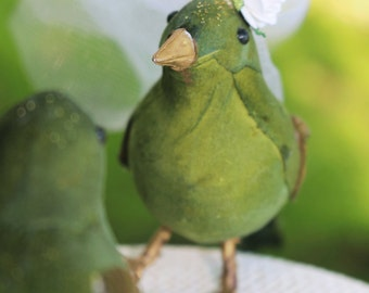 Bird Wedding Cake Topper in Chartreuse Green: Bride & Groom Love Bird Cake Topper