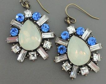 Art Deco Earrings - Vintage Inspired - Opal Earrings - Crystal Earrings - Gold Earrings - Blue Earrings - handmade jewelry