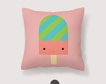 Ice Cream pillow, Ice-Cream kawaii pillow Illustration, Ice Cream Kid Soft Pillow, Popsicle Nursery Throw Pillow Cover, Decorative Pillow