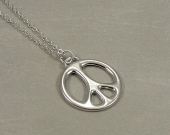 Peace Sign Necklace, Silver Plated Peace Symbol Charm on a Silver Cable Chain