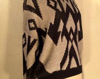 Retro Jantzen Blue and White XL Sweater - Womens