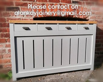 Made to measure bespoke GREY Radiator Cover with storage Drawers  , any size , quotes on alankayjoinery@gmail.com please