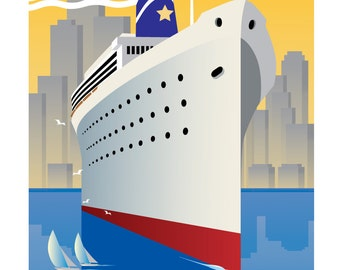 Vintage Travel Poster, Vintage Travel Print, Vintage Travel, Vintage Art, Art Deco Poster, Art Deco Print, Art Deco Ship, 20's Poster,