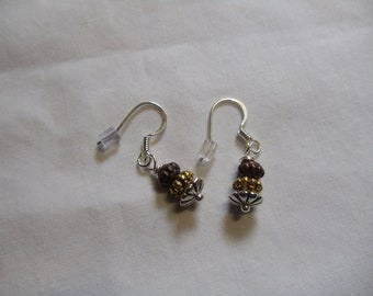 Silver, Bronze, and Gold Earrings on Silver Ear Wires, silver, bronze, earrings, dangle, silver ear wires