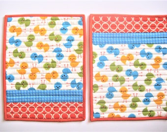 Pair of Kids Quilted Placemats, Snack Mats, Baby Birds, Easter and Spring 9.5 x 12.5