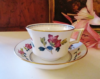 Wedgwood Chinese Flowers Teacup and Saucer, Chinoiserie, Afternoon Tea, Mother's Day Tea, Bone China, Colonial Williamsburg Foundation