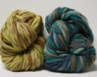 Hand Spun Merino Thick and Thin Yarn Bulky Self-striping Wool Slub  Hand Dyed tts(tm) U16004 U16005