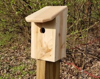 Functional wooden birdhouse Outdoor garden art bird house Wooden garden art outdoor birdhouse Rustic functional outdoor garden birdhouses