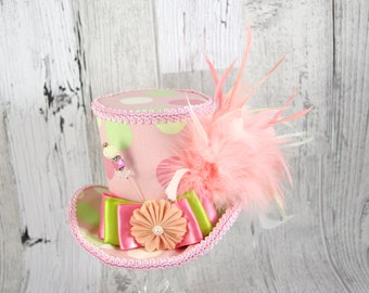 Pink, Green, and White Polka Dot Empress Collection Large Mini Top Hat Fascinator, Alice in Wonderland, Mad Hatter Tea Party, , Derby