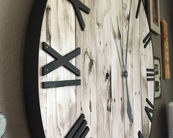 "30"" Shiplap Clock, Shiplap, Rustic Clock, Oversized Wall Clock, Large Wooden Clock, Wooden Clock, Farmhouse Decor, Farmhouse Wall, Rustic"