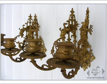 Two antique French wall lights, candle holders, wall sconces