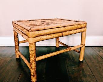 Vintage Burnt-Tortoise Bamboo Plant Stand / Rectangular Boho Foot Stool