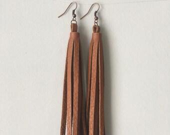 Long leather tassel earrings
