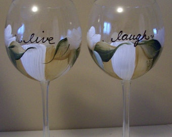 Live Love Laugh Handpainted Wine Glass, Dishwasher Safe