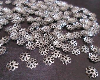 20 bead caps / bead caps silver 7 mm in diameter