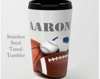 Sports Travel Mug-Travel Tumbler-Coffee Mug-15 oz Mug-To Go Mug-Sports Coffee Mug-Insulated Travel Mug-Personalized Mug-Sports Tumbler