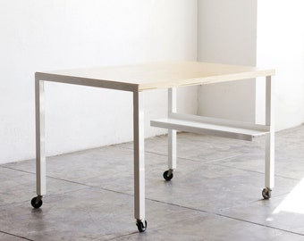 White Steel and Wood Modular Work Table/ Kitchen Island on Casters