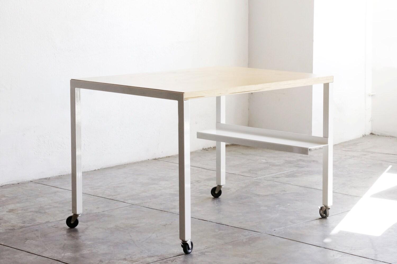 Stahl und Holz modulare Arbeitstisch weiß / Küche Insel auf