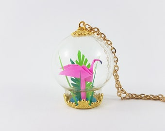 Pink Flamingo Origami Necklace,Terrarium Jewelry,Flamingo Necklace,First Anniversary Gift,Paper Anniversary,Origami Wedding,Flamingo Jewelry
