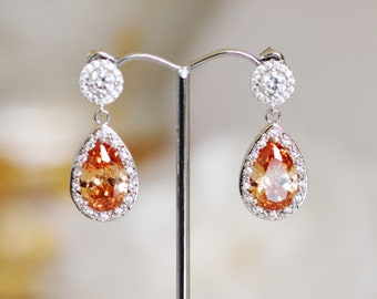 Crystal Wedding Earrings Peach Champagne Earrings Formal Prom Anniversary Gift Earrings Mother of the Bride Gift for Women Grandma